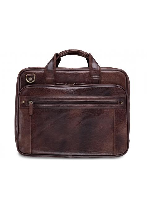 Mancini ARIZONA Double Compartment Briefcase for 15.6 Inch Laptop / Tablet - Brown
