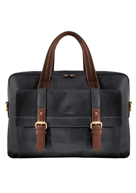 Mancini CALABRIA Collection Double Compartment Briefcase for Laptop & Tablet - Black