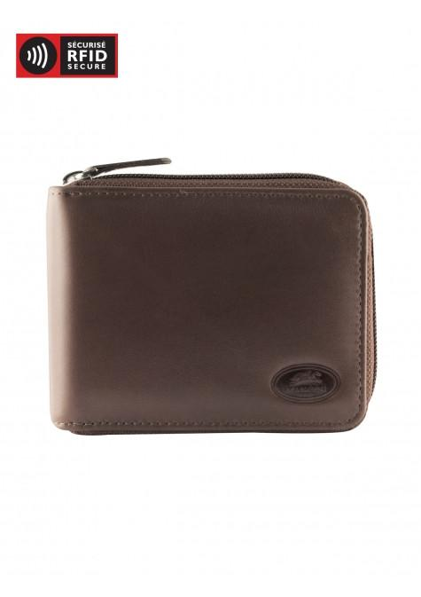 Mancini MANCHESTER Men's Zippered Wallet With Removable Passcase - Brown