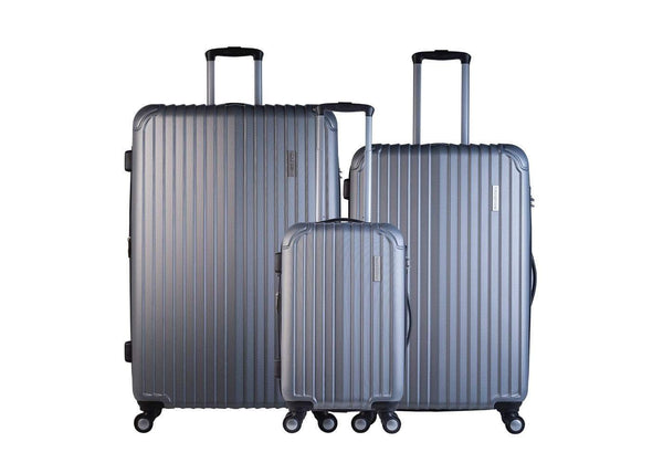Trochi Knight 3 Piece Hardside Expandable Spinner Luggage Set - Silver Grey