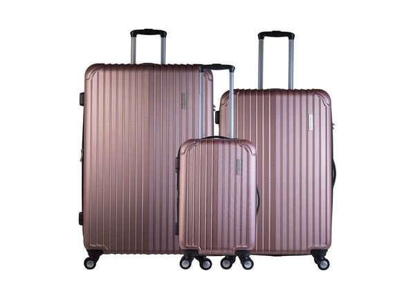 Trochi Knight 3 Piece Hardside Expandable Spinner Luggage Set - Rose Gold