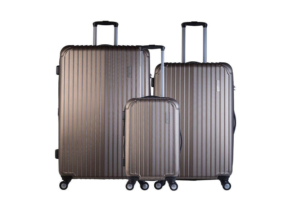 Trochi Knight 3 Piece Hardside Expandable Spinner Luggage Set - Champagne