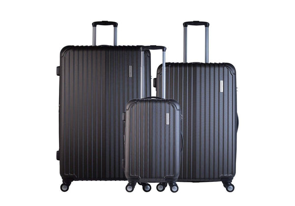 Trochi Knight 3 Piece Hardside Expandable Spinner Luggage Set - Black