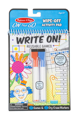 ON THE GO WRITE ON/WIPE OFF ACTIVITY GAMES PAD