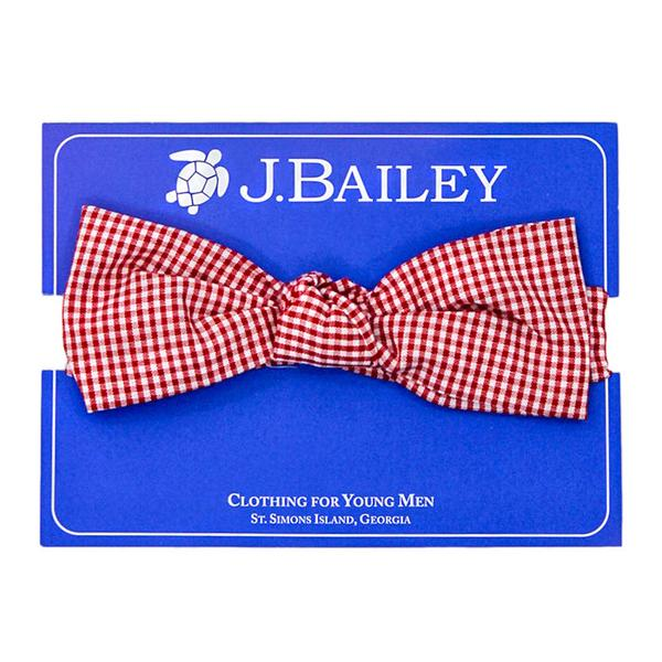 J Bailey Bow Tie in Red Micro Check