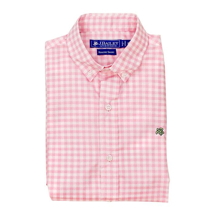 Roscoe Button Down Shirt-Pink Check