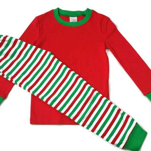 TWO PIECE CHRISTMAS JAMMIES - RED & GREEN STRIPE