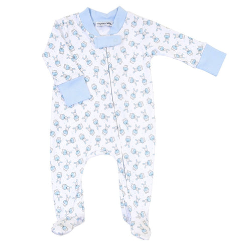 VINTAGE POLKA DOT BUNNY BLUE PRINTED ZIPPED FOOTIE