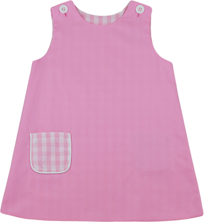 OLIVIA DRESS (REVERSIBLE) - PINK / PINK CHECK - LITTLE BUNNY FOO FOO