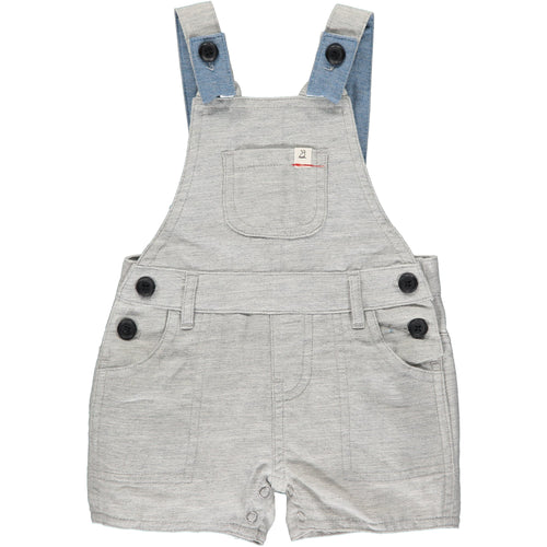 PALE GREY WOVEN SHORTIE OVERALLS