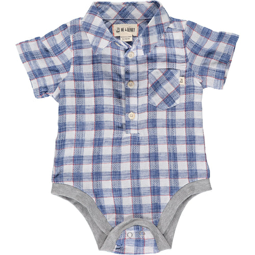 BLUE / RED MADRAS PLAID SHORT SLEEVED ONESIE