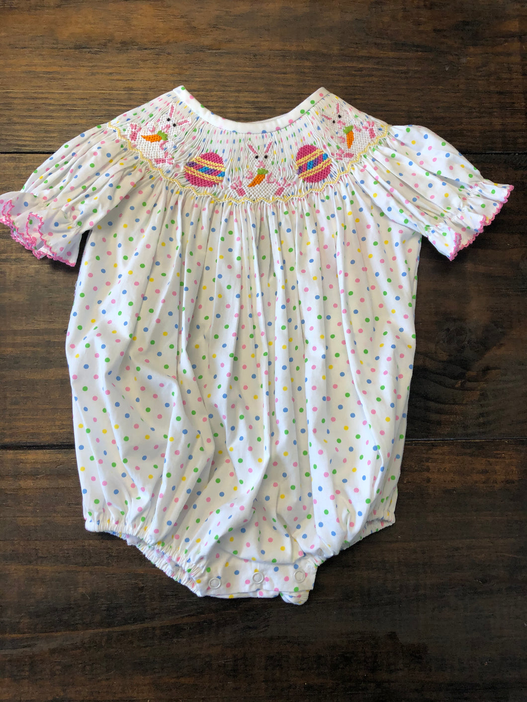 BUNNY DOT SMOCKED BUBBLE