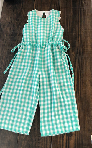 Gingham Jumpsuit Turquoise