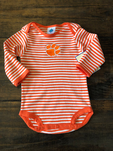 Long Sleeved Orange Bodysuit Clemson