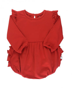 RED FLUTTER BUBBLE ROMPER