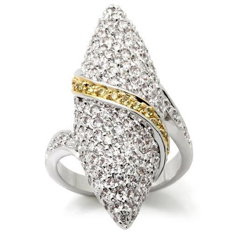 0W099 Gold+Rhodium Brass Ring with AAA Grade CZ in