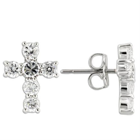 0W155 Rhodium 925 Sterling Silver Earrings with