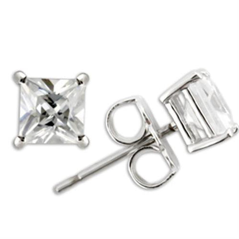 0W159 Rhodium 925 Sterling Silver Earrings with
