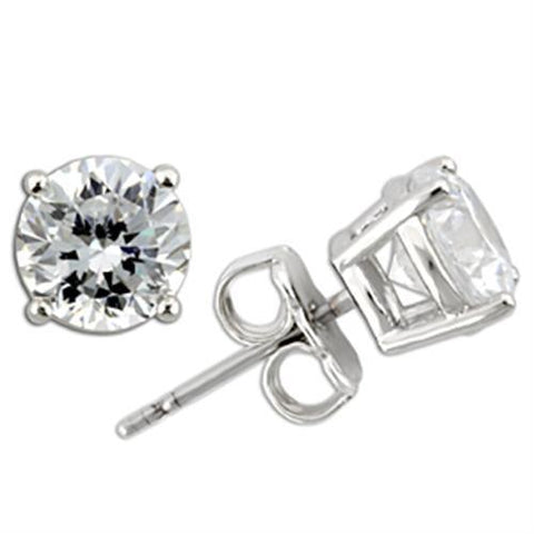0W173 Rhodium 925 Sterling Silver Earrings with