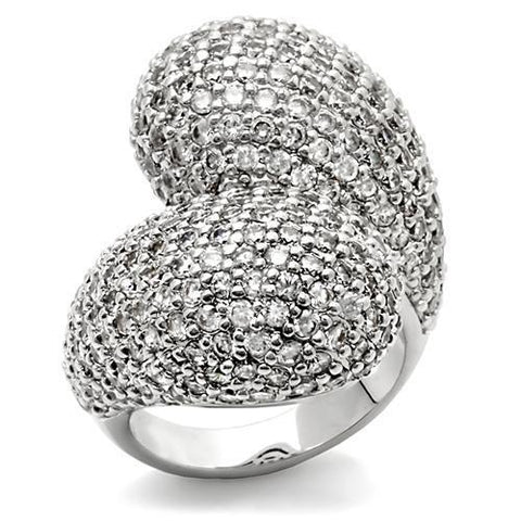 0W216 Rhodium Brass Ring with AAA Grade CZ in