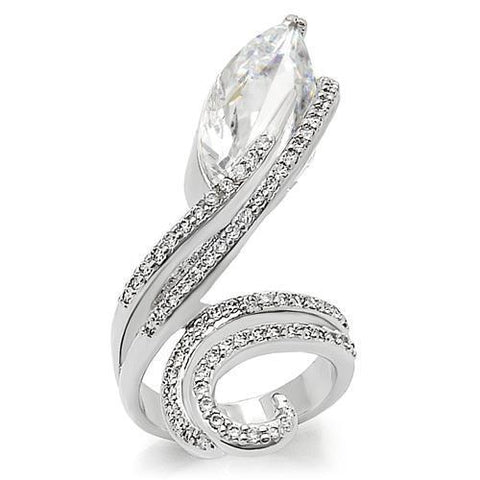 0W253 Rhodium Brass Ring with AAA Grade CZ in