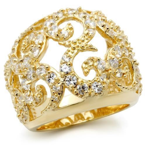 0W274 Gold Brass Ring with AAA Grade CZ in Clear