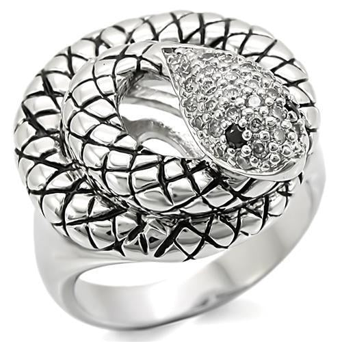 0W281 Rhodium Brass Ring with AAA Grade CZ in Jet