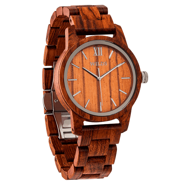 Men's Handmade Engraved Kosso Wooden Timepiece