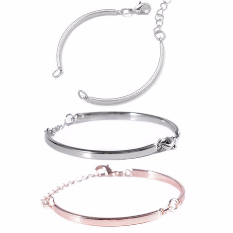 1pc Ajustable Curved Metal Connector Blank Bangles
