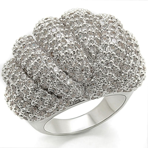 1W020 Rhodium Brass Ring with AAA Grade CZ in