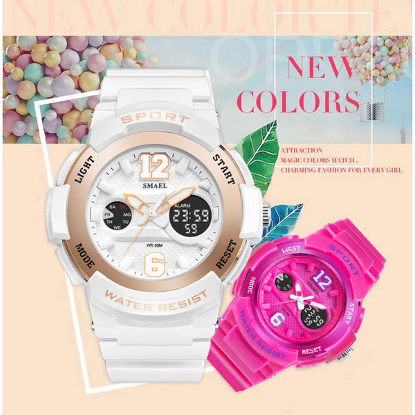 Ladies Watch LED Waterproof Rose Gold White