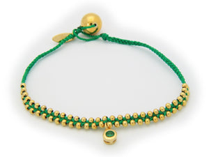May Emerald (Cz) Green Cord Bracelet in Vermeil,