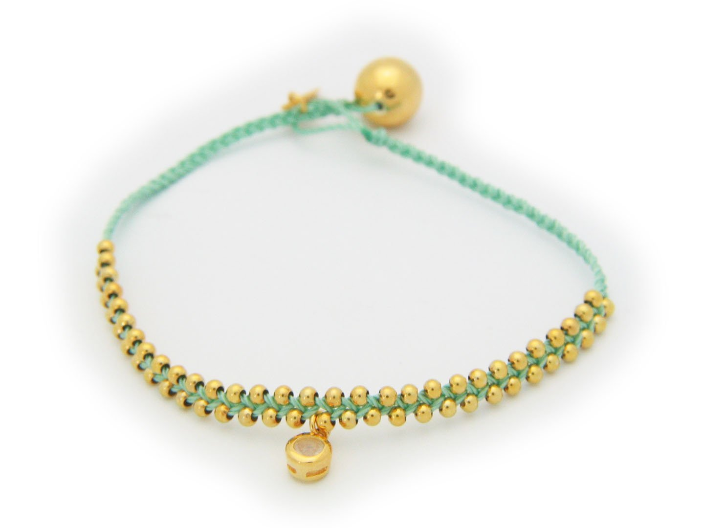 October Opal (Cz) Green Cord Bracelet in Vermeil,