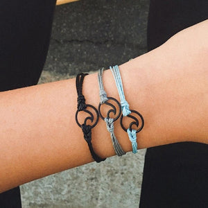 3pcs Bohemia Silver Wave Anklets Bracelets For
