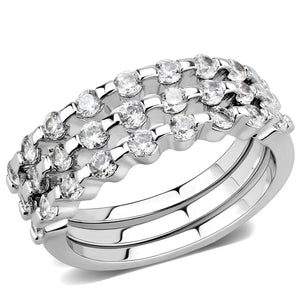 3W1595 Rhodium Brass Ring with AAA Grade CZ in