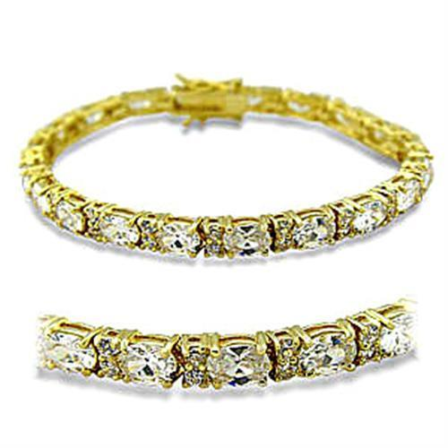 415502 Gold Brass Bracelet with AAA Grade CZ in