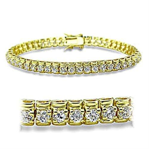 415906 Gold Brass Bracelet with AAA Grade CZ in