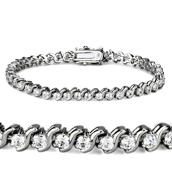 47203 Rhodium Brass Bracelet with AAA Grade CZ in