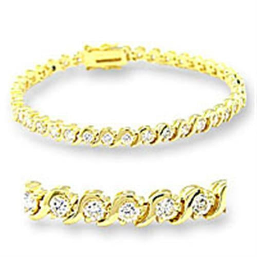 47204 Gold Brass Bracelet with AAA Grade CZ in