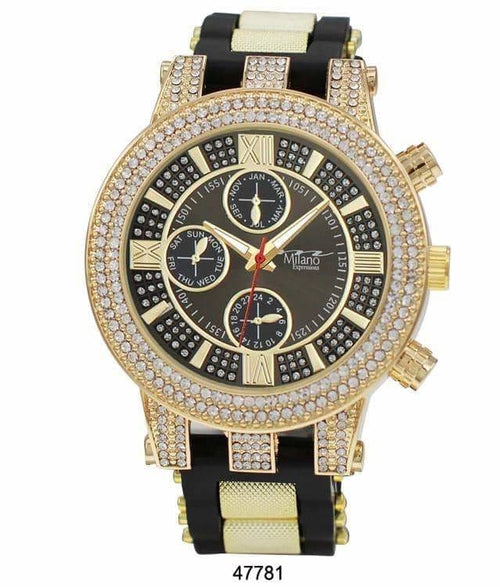 53MM Milano Expressions Iced Out Bullet Band Watch