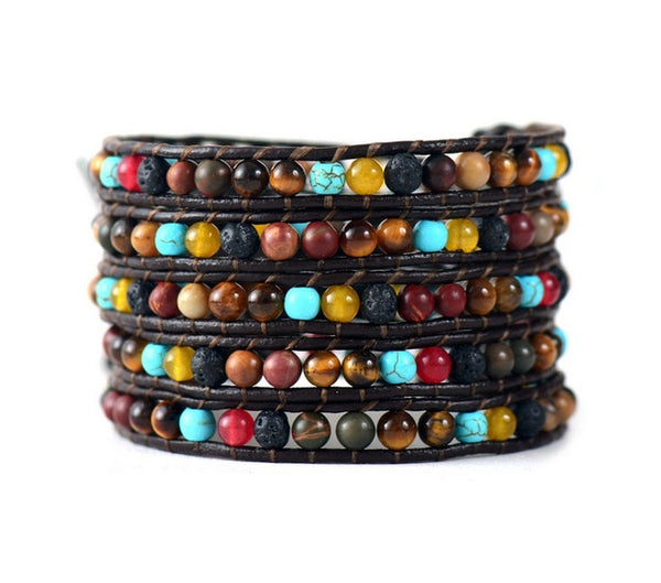5 Row Leather Wrap Bracelet Mix Natural Stones