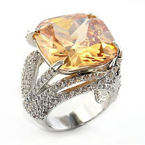 80607 Rhodium Brass Ring with AAA Grade CZ in