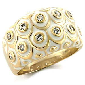 9W164 Gold Brass Ring with AAA Grade CZ in Clear
