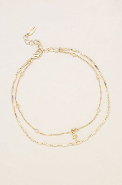 Delicate Cross Charm 18k Gold Plated Anklet