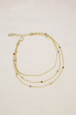 Over the Rainbow Multi-Chain Crystal Anklets