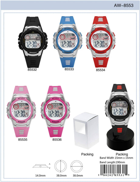 38MM Montres Carlo 5ATM Digital Watch - 8553