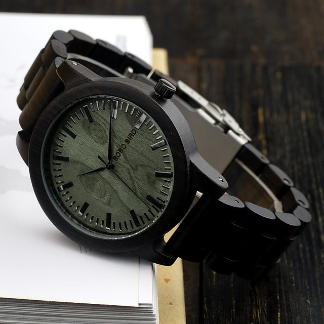 M04 Wooden Men Watch Analog Quartz