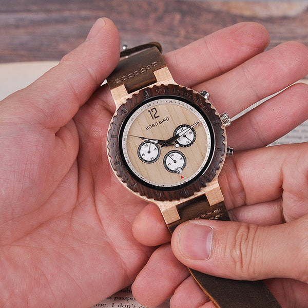 Two-tone Wooden Watches for Men Engraved