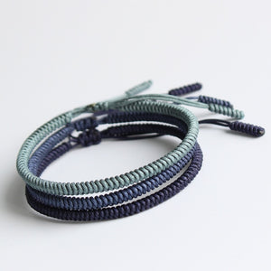 Blue Cyan Tibetan Buddhist Braided Lucky Knots