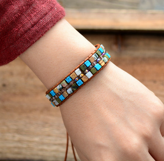Boh Square Natural Stones Single Leather Wrap